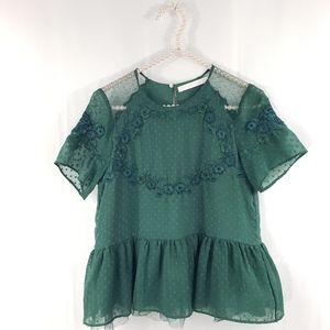 Zara Embroidered Peplum Blouse